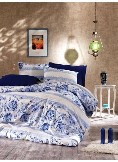 EnLora Home Enlora %100 Doğal Pamuk Nevresim Seti Çift Kişilik Delit  17479v1 Mavi